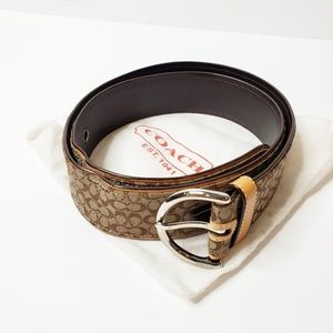 Women's Coach Brown Tan Logo Belt Medium 39""
